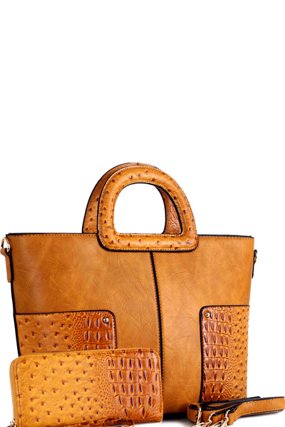 Handle Ostrich Detail 2-way Satchel Wallet Set