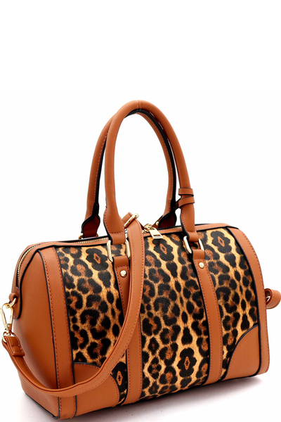 Leopard Print 2 in 1 Boston Satchel with Pouch