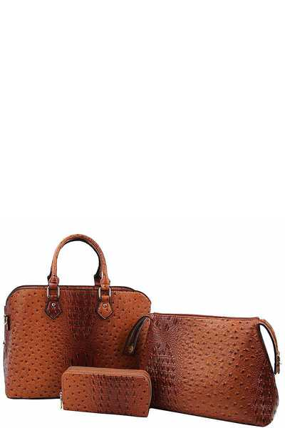 3in1 Fashion Croco Pattern Satchel with Long Strap