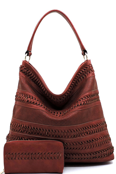 Weaved Laser Cut Printed 2-in-1 Shoulder Bag