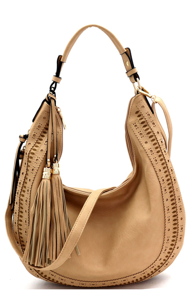 Laser-Cut Double Tassel Accent Expandable Hobo