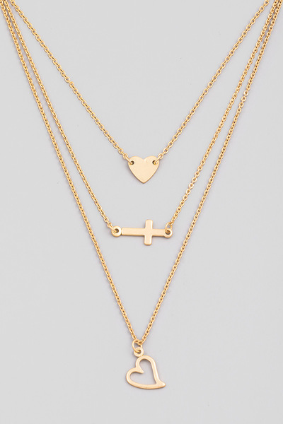 Dainty Layered Heart Cross Pendant Necklace