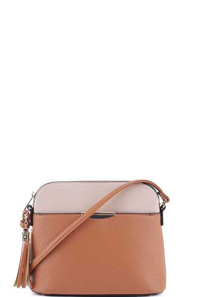 CUTE TWO COLOR MATCH CROSSBODY BAG