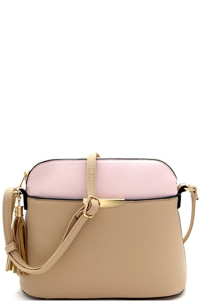 Two-Tone Multi-Pocket Dome Shaped Cross Body
