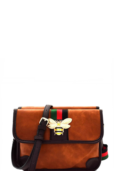 Bee Charm Color Block Striped Compartment Shoulder Bag