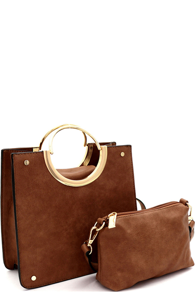 Metal Round Handle Accent 2in1 Structured Satchel