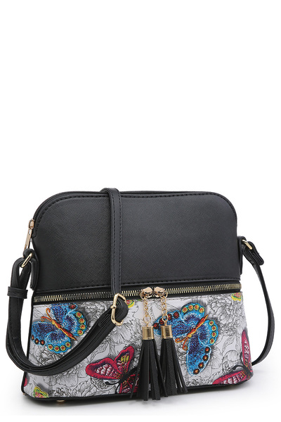 Flower Butterfly Colorblock Tassel Crossbody