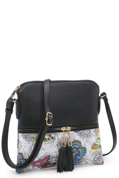 Flower Butterfly Printed Colorblock Tassel Zipper Crossbody Bag