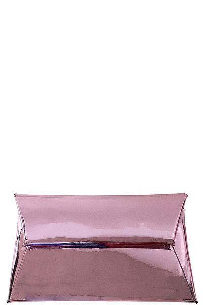 CHIC GLOSSY METALLIC ENVELOPE CLUTCH WITH CHAIN