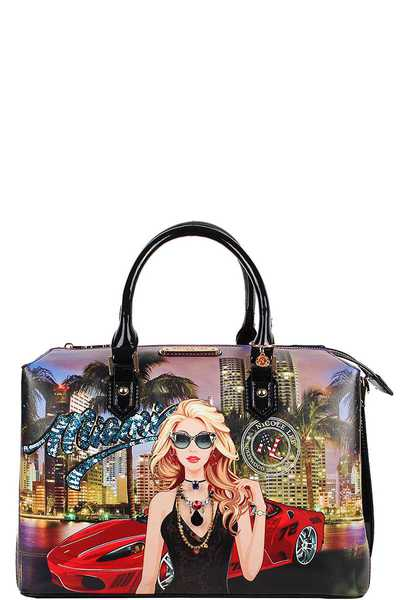 Nicole Lee Miami Night Print Boston Bag