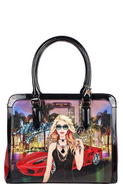 Nicole Lee Miami Night Print Satchel Bag