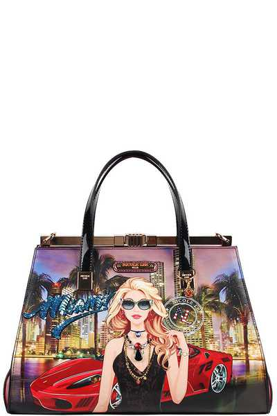 Nicole Lee Miami Night Print Chic Satchel Bag