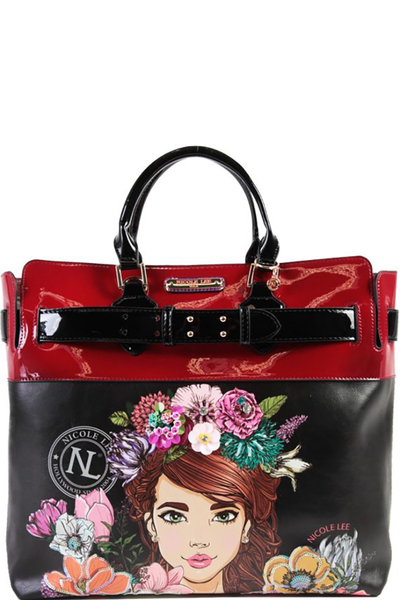 NICOLE LEE FLORAL SATCHEL BAG