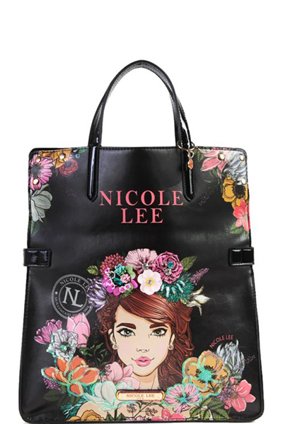 NICOLE LEE FLORAL FOLD-OVER TOTE BAG