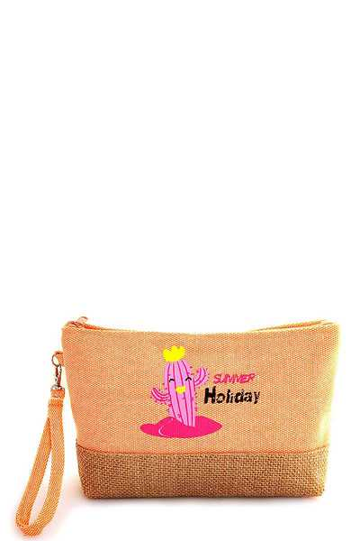 CUTE FASHION SUMMER HOLIDAY CACTUS PRINT CLUTCH WITH HAND STRAP