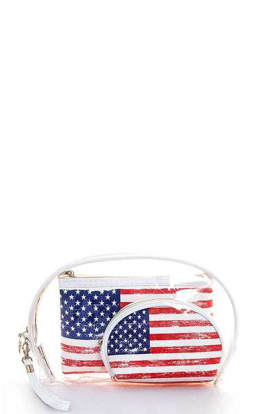 3IN1 USA FLAG AND TRANSPARENT CLUTCH SET WITH LONG STRAP