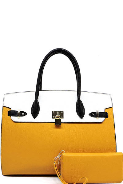 Colorblock Padlock Satchel Wallet Set