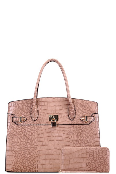 Crocodile Print Padlock Accent Oversized Tote Wallet SET