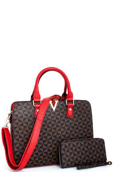 2IN1 CLASSY V-ACCENTED TOTE WITH MATCHING WALLET