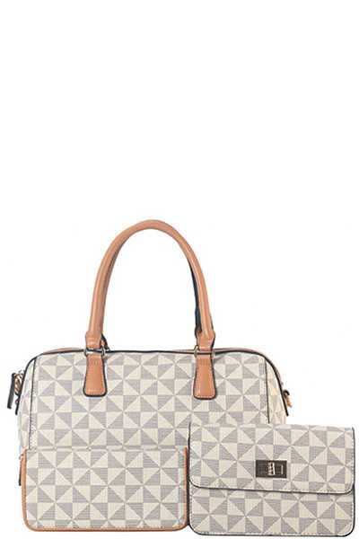 3IN1 SMOOTH TRIANGULAR CHECKERED DESIGN DUFFEL BAG WITH MATCHING CLUTCH AND WALLET SET