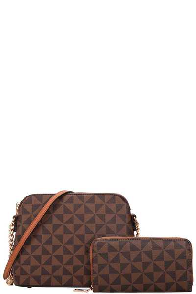 2IN1 SMOOTH CHECKER CROSSBODY BAG WITH MATCHING WALLET SET