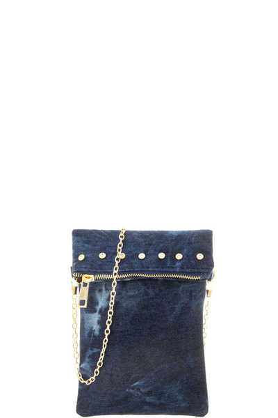 MODERN DENIM CRYSTAL STUD CHAIN CROSSBODY BAG