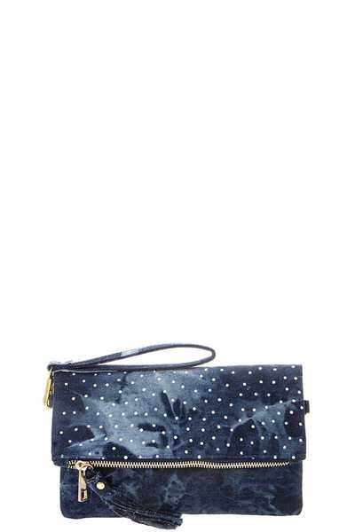 FASHION MULTI CRYSTAL STUD FLORAL TASSEL DENIM CLUTCH CROSSBODY BAG