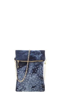 FASHION MULTI CRYSTAL STUDDED DENIM DESIGN CHAIN CROSSBODY BAG