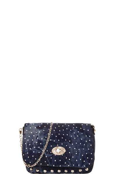 FASHION MULTI SPARKLING STUDDED DENIM CROSSBODY BAG