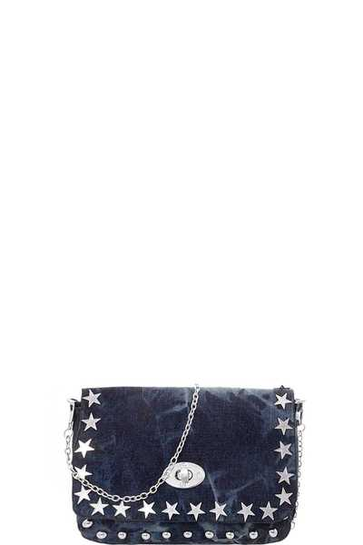 FASHION MULTI STAR STUDDED DENIM CROSSBODY BAG