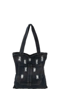 TRENDY JEANS LIKE PATCH DESIGN SHOPPER BAG