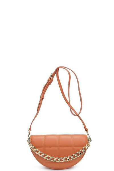 QUILTED NATALIE OVAL SHAPE CROSSBODY BAG