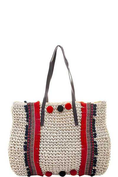 STRAW TRIBAL POM DESIGN TOTE BAG