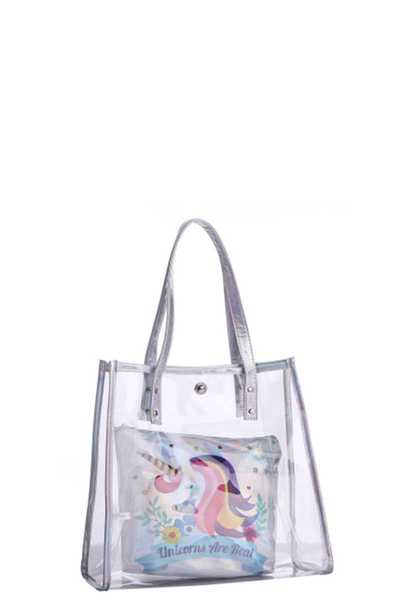 CLEAR TOTE BAG WITH UNICORN POUCH
