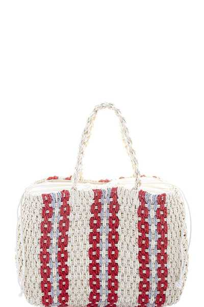 MODERN STRIPED STRAW TOTE BAG