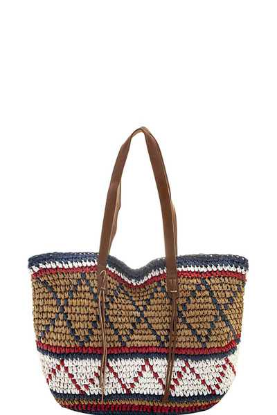 MULTI TONE TRIBAL LIKE DESIGN TOTE BAG
