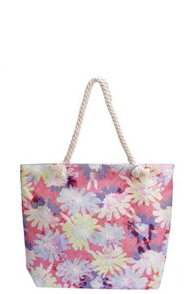 FLOWER PRINT CANVAS TOTE BAG