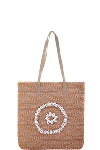FLORAL ROUND SHELL DESIGN SHOPPER BAG