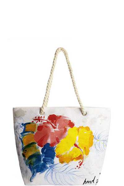 FLOWER HAND PAINTED TOTE BAG