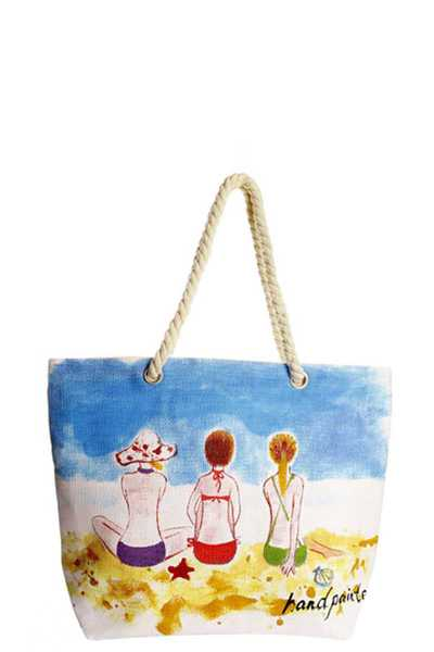 BEACH HAND PAINTED TOTE BAG