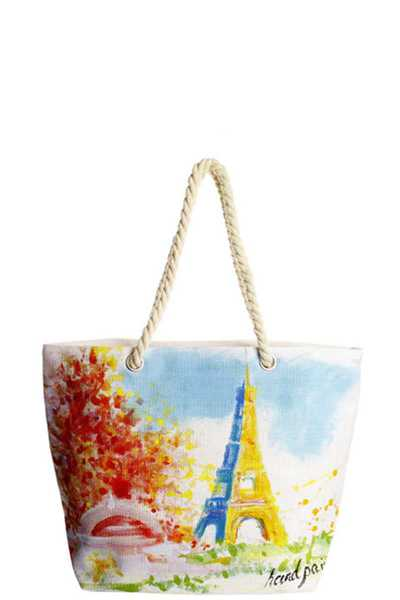 EIFFEL TOP HAND PAINTED TOTE BAG