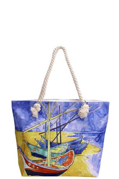 4 SHIP PRINT CANVAS TOTE BAG