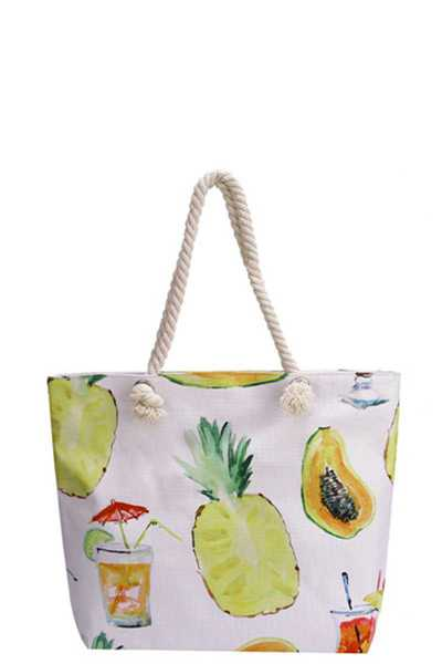 PINEAPPLE & COCKTAIL CANVAS TOTE BAG