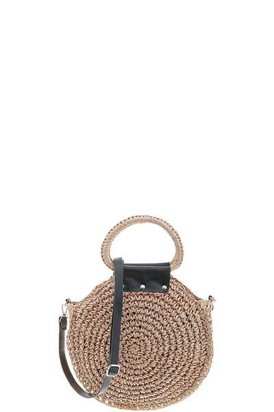 STYLISH ROUNDED STRAW HANDLE TOTE BAG