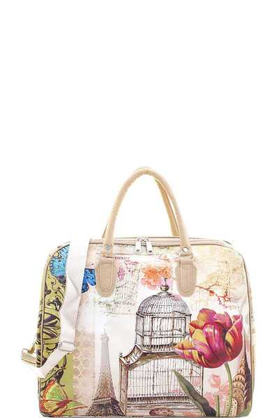 STYLISH BUILDING CAGE FLOWER BUTTERFLY TRAVEL LARGE DUFFEL BAG