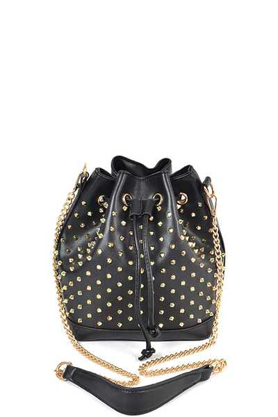 STYLISH SPIKE STUDDED BUCKET BAG
