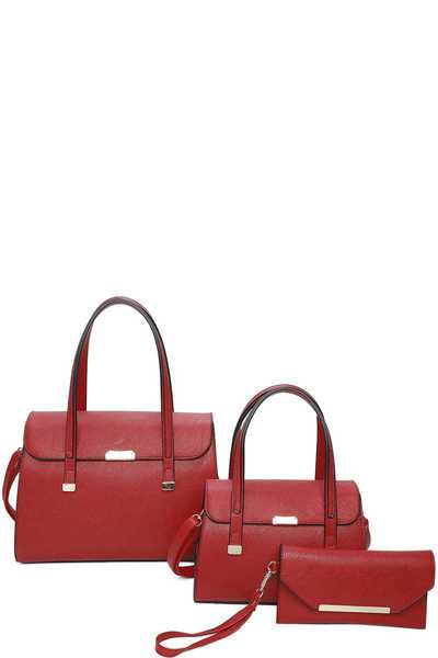 3IN1 STYLISH PLAIN SATCHEL BAG  SET