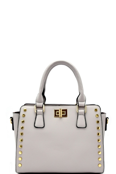 Turn-lock Accent Studded Mini Satchel