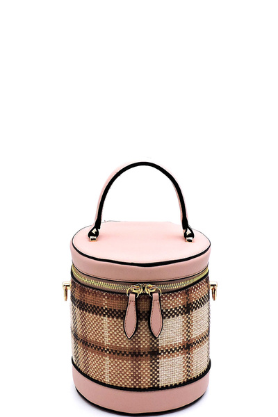Plaid Check Printed Cylinder Satchel