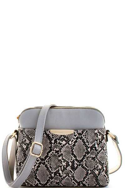 MODERN CHIC SNAKE PATTERN CROSSBODY BAG